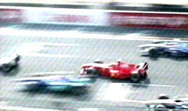 Schumacher nearly crashes at start